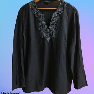 Lands End Beaded Linen Tunic in Navy